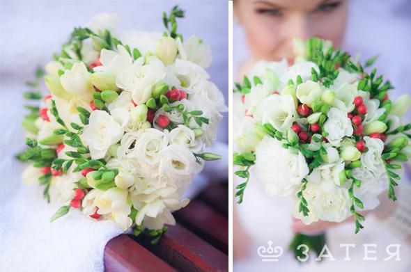 гиперикум и фрезия белый букет невесты