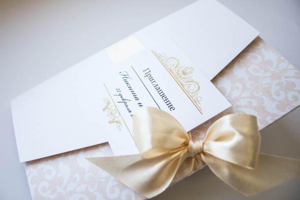 кремовые приглашения на свадьбу