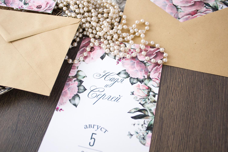 розовый и мятный в приглашениях