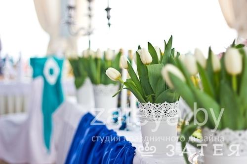 Синий и аквамарин в оформлении свадьбы