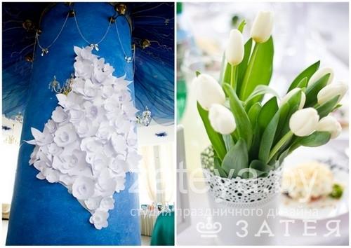 Оформление бумажными цветами на свадьбе