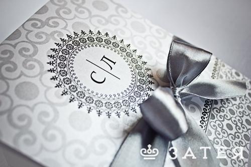 свадебное приглашение в серебре