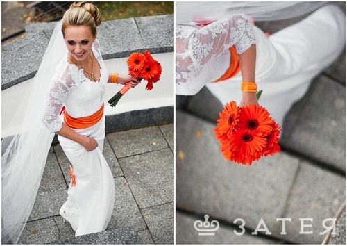 оранжевые герберы в свадебном букете