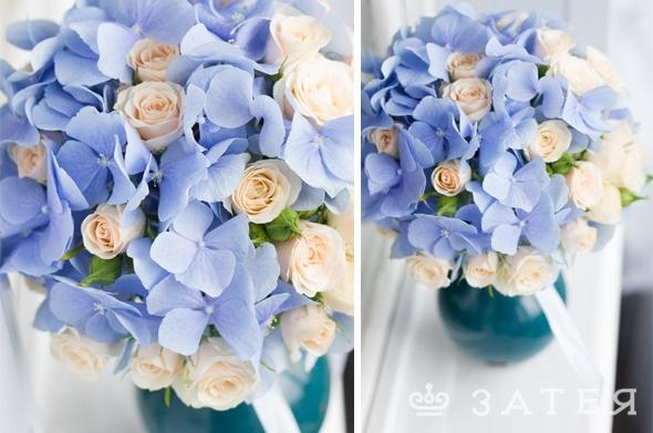 голубая гортензия в свадебном букете
